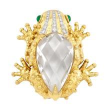 Hammered Gold, Platinum, Rock Crystal, Diamond and Cabochon Emerald Frog Clip-Brooch, David Webb