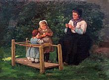 Frans Charlet Belgian, 1862-1928 Knitting Lesson