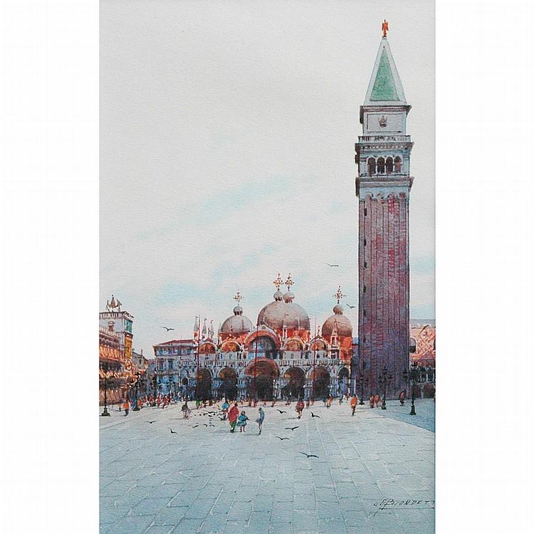 Andrea Biondetti Italian, 1851-1946 Views of St. Marks Basiclica, Venice: Two