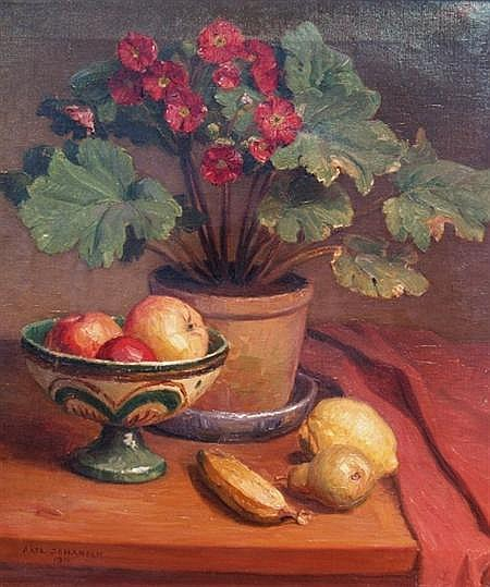 Axel Johansen Danish, 1872-1938 Potted Plant and Fruit