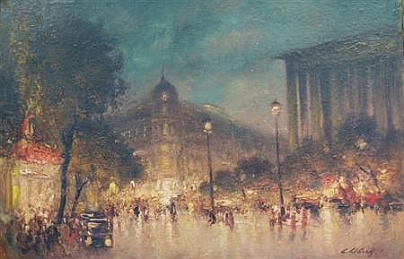 Ludolf Liberts Latvian/American, 1895-1959 Parisian Street Scene at Night