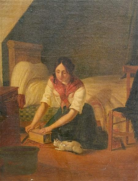 Albert Kindler German, 1833-1876 Girl with Cat and Girl on a Bed: Two