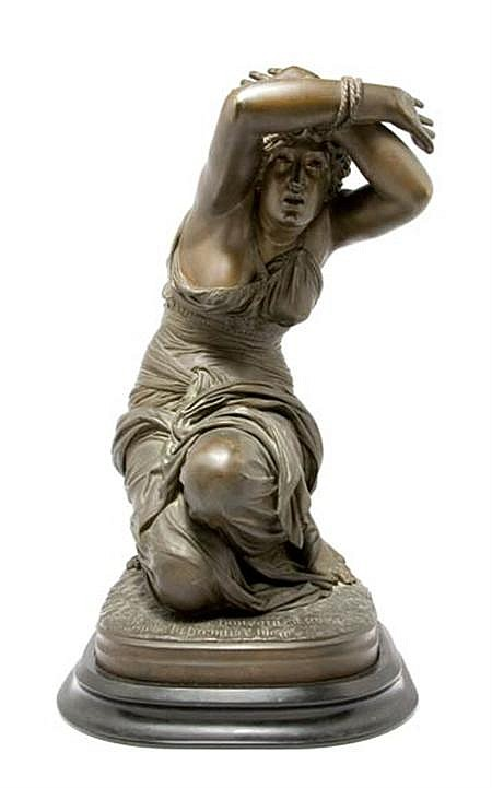 Bronze Figure of a Woman; Together with an Associated Patinated-Metal Square Stand