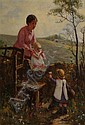 Thomas Austen Brown British, 1859-1924 Mother with Children in a Countryside