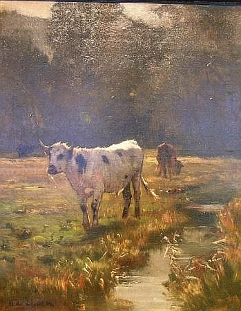 Otto van Thoren Austrian, 1828-1889 Cows by a Stream