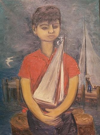 Juan de' Prey Puerto Rican, 1904-1962 Boy with a Sailboat