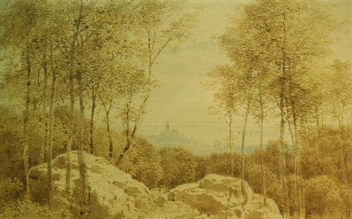 Karl Theodor Reiffenstein German, 1820-1893 Landscape with View of Hilltop Village in Distance