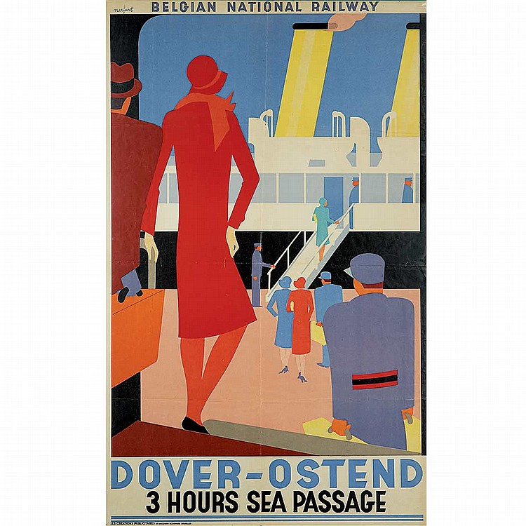 Leo Marfurt (1894-1977) DOVER-OSTEND Color lithograph