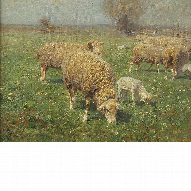 Heinrich Johann von Zugel German, 1850-1941 Sheep Grazing in a Pasture