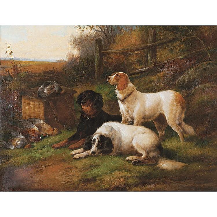 John Morris British, 19th Century Setters After the Hunt