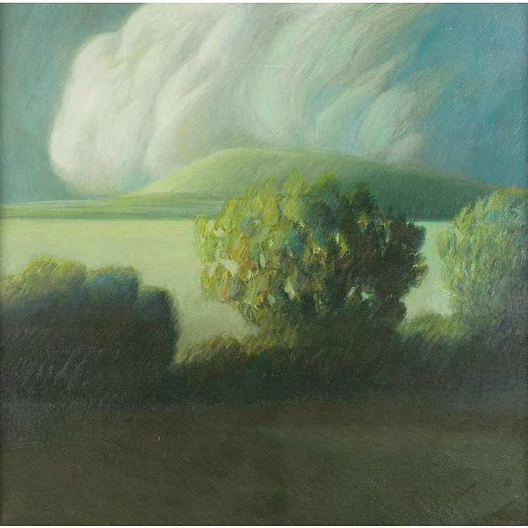 Robert Kipniss American, b. 1931 Landscape with Cloud
