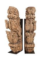 Two Similar Balinese Carved Wood Architectural Elements