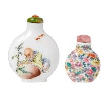 Two Chinese Famille Rose Enameled White Glass Snuff Bottles