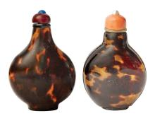 Two Chinese Tortoise Shell Snuff Bottles