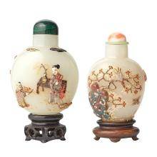 Two Chinese Embellished Pale Celadon Snuff Bottles