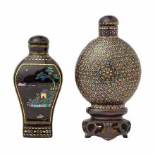 Two Chinese Lac Burgaute Snuff Bottles
