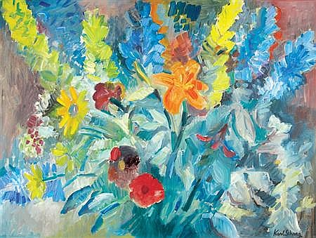 Karl Schrag American, 1912-1995 Flowers & Leaves