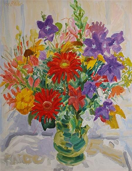 Nell Blair Walden Blaine American, 1922-1996 Red Gerbera and Balloon Flowers, 1990