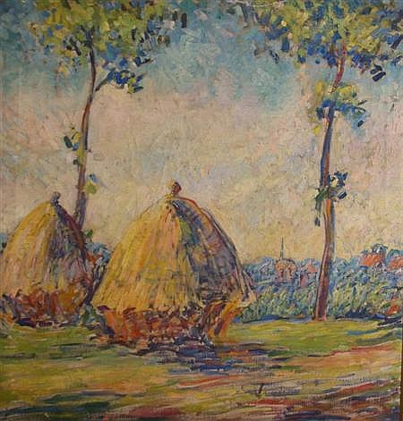 William B. Hazelton American, 1879-1954 Sunlit Landscape with Haystacks