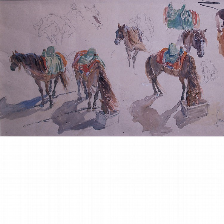 Charles SarkaAmerican, 1879-1960(i) Arabian Horses (ii) Fox and Coyote