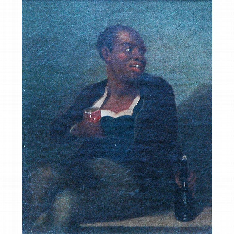 American School 19th Century Seated Man Drinking