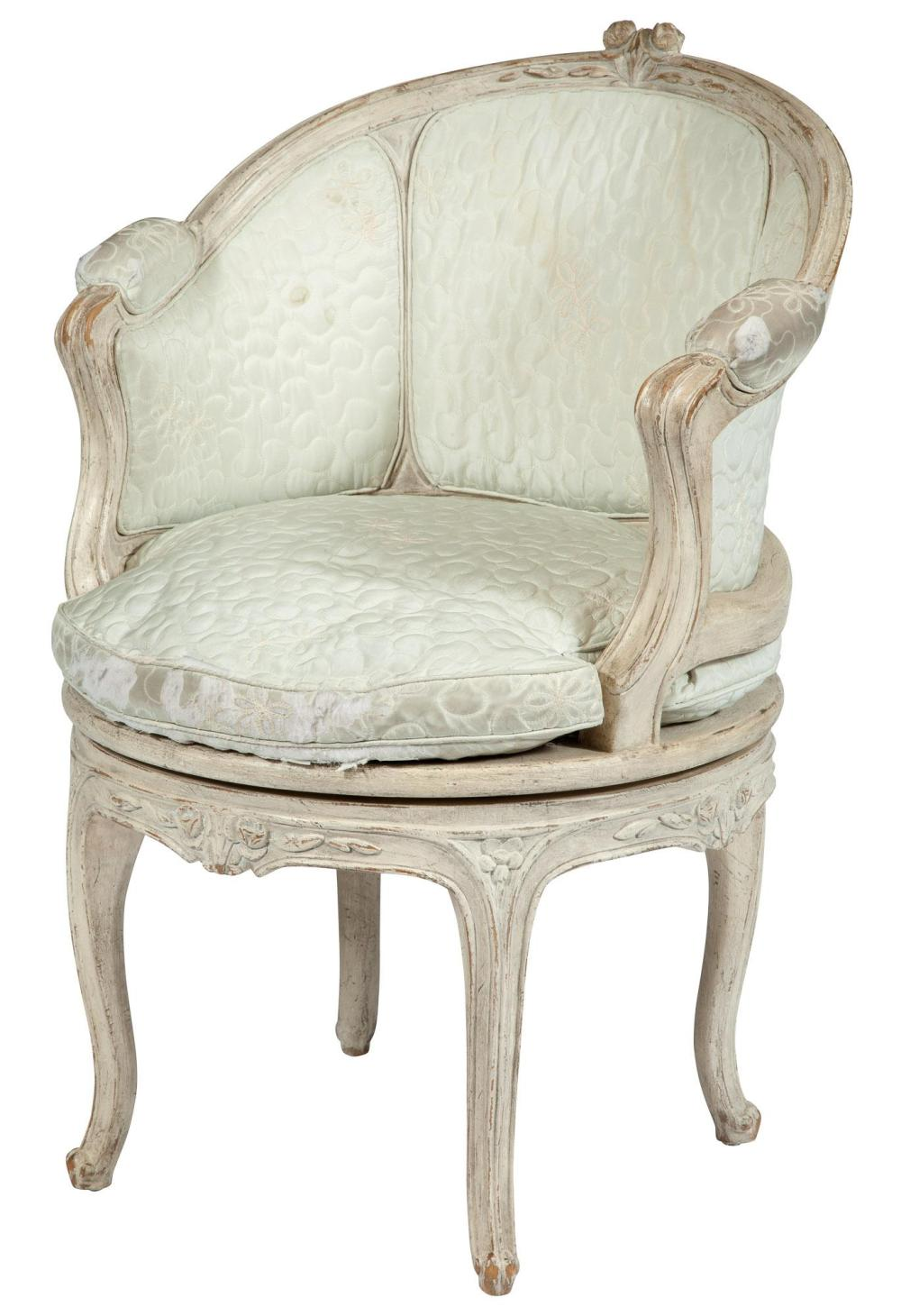 Louis XV Style Painted Swivel Armchair
