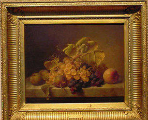 Johann Wilhelm Preyer German, 1803-1889 STILL LIFE WITH FRUIT UPON A MARBLE LEDGE