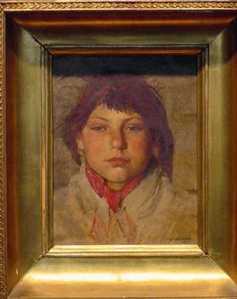 Josef Chelmonski Polish, 1849-1914 THE RED KERCHIEF