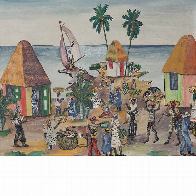 (i) Prefete Duffaut Haitian, b. 1923 Rue de Jacmel, Haiti, 1956 (ii) Attributed to Lusimond Merelus Haitian, 20th Century Market Day