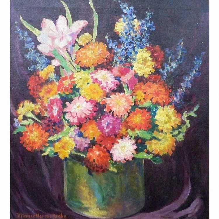 Minnie Harms Neebe American, 1873-1936 Still Life with Zinnias