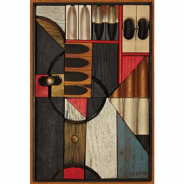 Abe Ajay American, b. 1919 Untitled, Construction #220, 1964   Signed Ajay and dated 64 (lr) Burlap,...