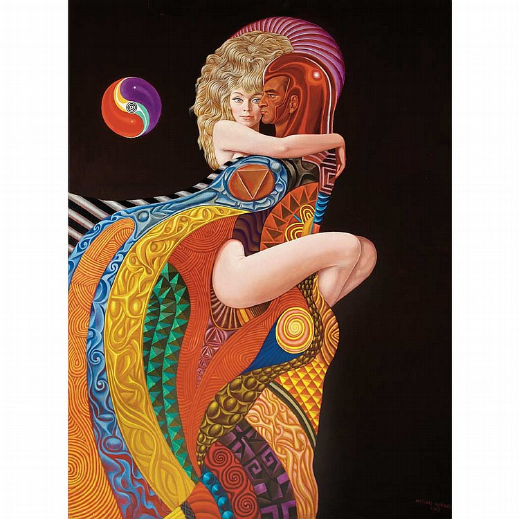 Mati Klarwein German, 1932-2002 Warrior and Young Woman