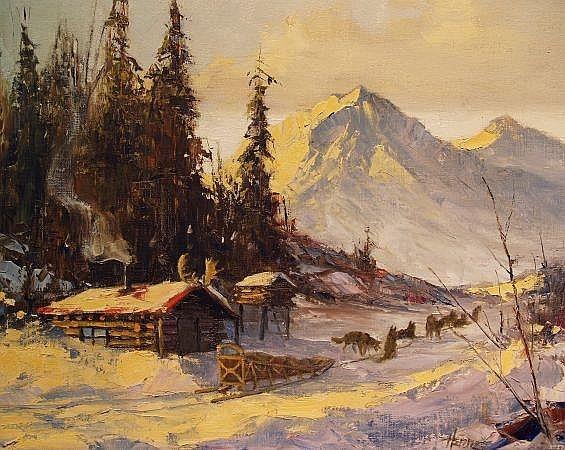 Ellen Henne Goodale American, 1915-1991 Alaskan Cabin and Dogsled