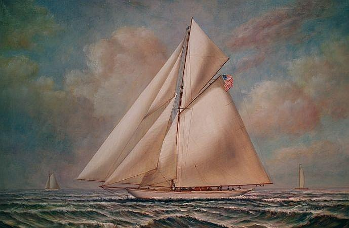 D. Tayler American, 20th century Cutter at Full Sail