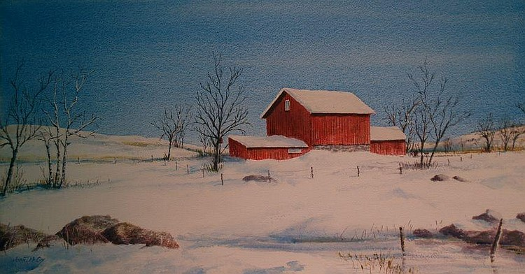 John T. McCoy American, b. 1905 Red Barn in Winter