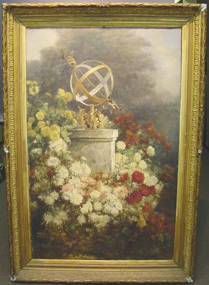 Clara Lobedan German, 1840-1918 VIEW OF GARDEN WITH SPHERICAL SUNDIAL