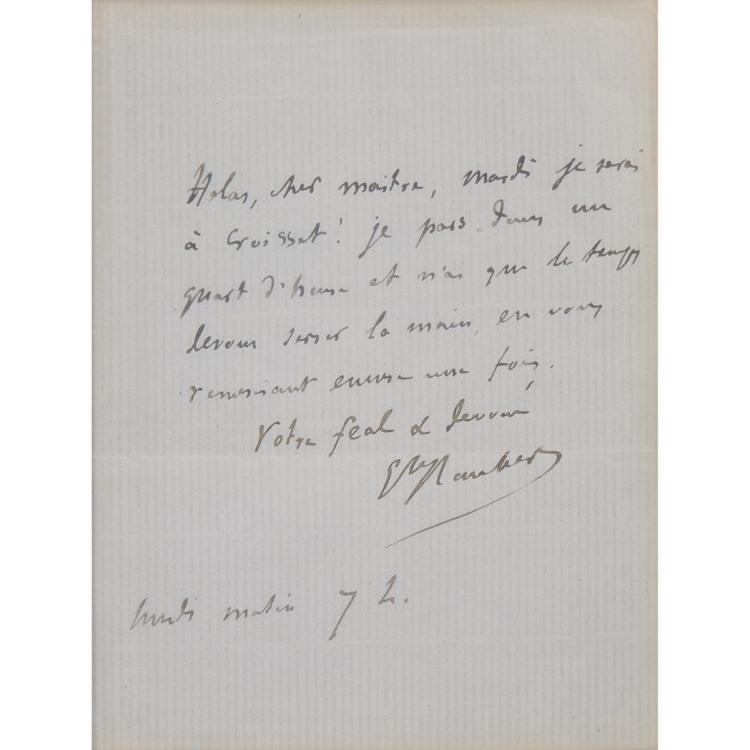 FLAUBERT, GUSTAVE Autograph letter signed, single page of a folded sheet of stationery, integral leaf blank, addressed