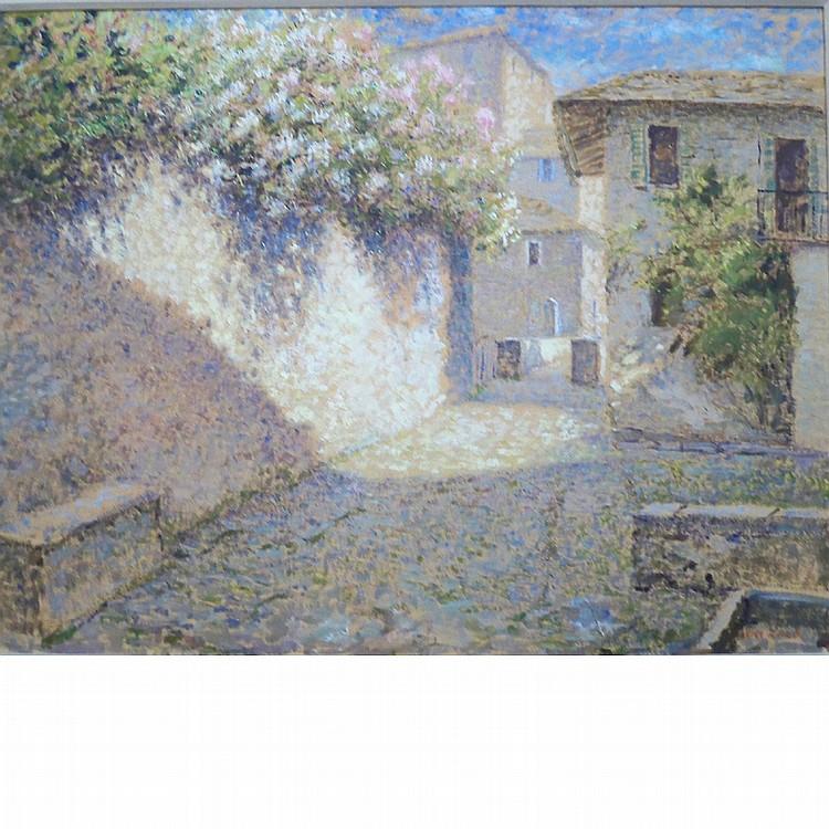 Luigi Zago Italian, 1894-1952 (i) View of a Village Street (ii) Mountain Landscape