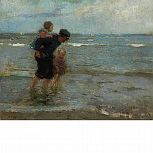 Frantz Charlet Belgian, 1862-1928 Walking in the Surf