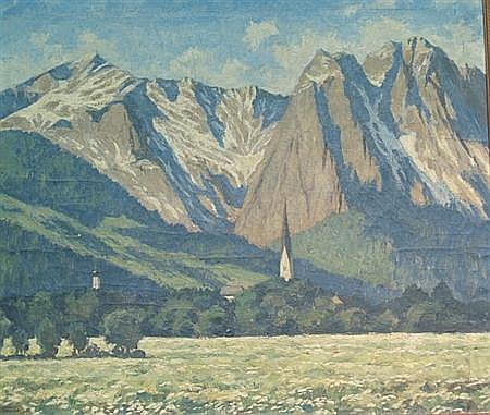 Rudolf Hause German, 1877-1961 Alpine Landscape, 1935