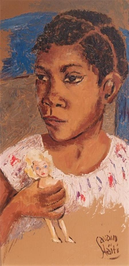 Petion Savain Haitian, 1906-1975 Girl with Doll