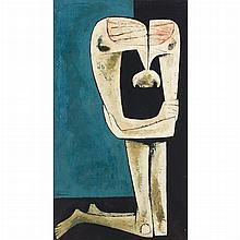 Oswaldo Guayasamin Ecuadorian, 1919-1999 Untitled (Kneeling Man)