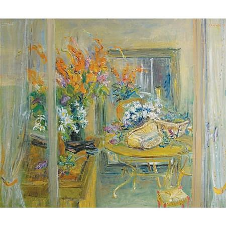 Francois Federle French, 20th Century Interior with Floral Arrangements, 1977