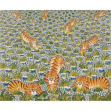 Yannis Amoryanos Greek, b. 1944 Tigers in a Field of Daisies, 1977