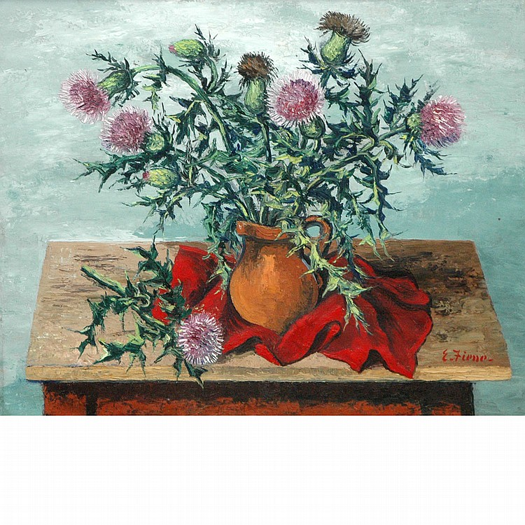 Ernest Fiene American, 1894-1965 Still Life with Thistles