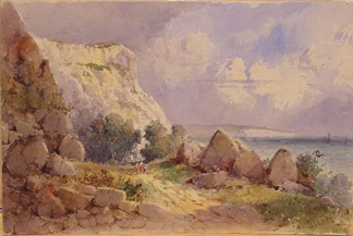 George James Knox British, 1810-1897 SEA FORMATIONS and THE LANDSLIP AT EAST END: TWO, together with two other watercolors