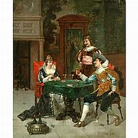 Ludovic (Louis Hippolyte) Mouchot French, 1846-1893 The Card Players