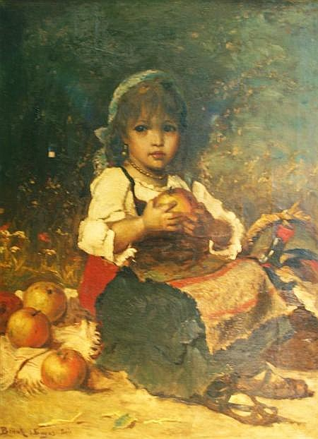 Lajos Bruck Hungarian, 1846-1910 Little Girl with Apples