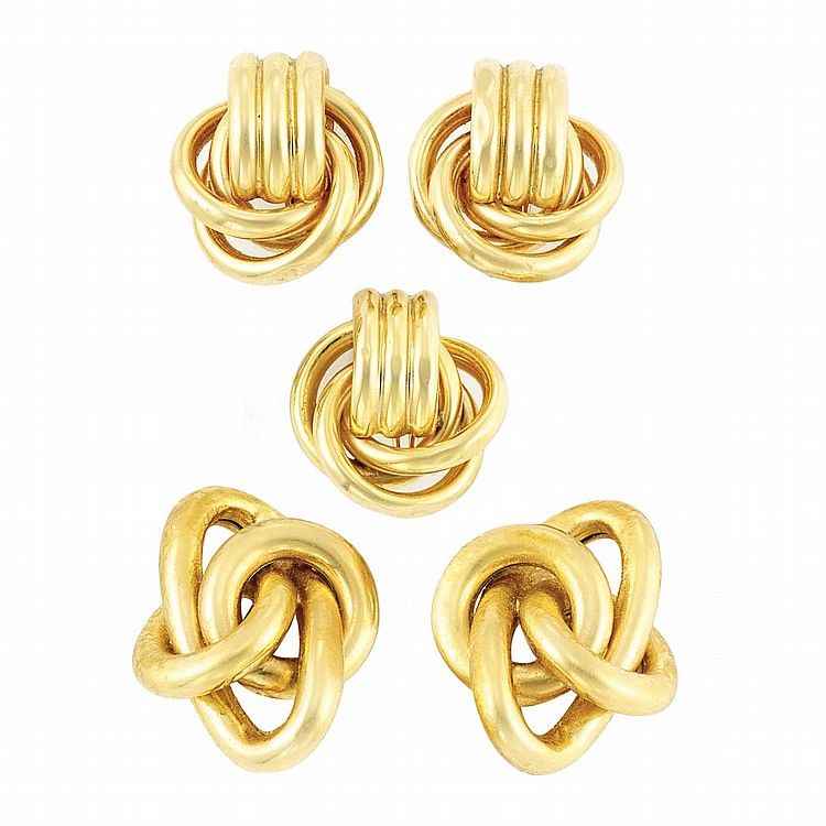 Two Pairs of Gold Earclips and Single Earclip