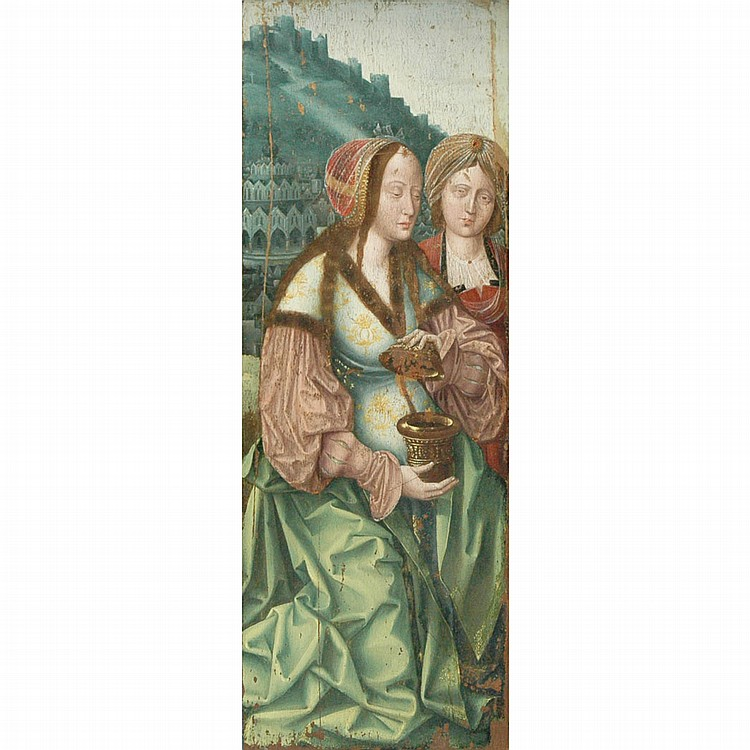 Attributed to the Master of the Virgo Inter VirginesMary Magdalene and another Female Saint